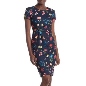 T Tahari - Floral Knotted Front Sheath Dress